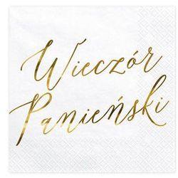 Serwetki białe ze złotym napisem Wieczór Panieński - 33 cm - 20 szt.