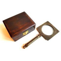 Mosiężne składane szkło powiększające w pudełku drewnianym - MAG-0506 -14x12x5cm