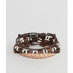 ASOS Leather Bracelet Pack In Brown With Beads - Brown