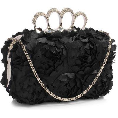 864d38af0fc22 Oryginalna torebka wizytowa z kwiatowych płatków czarna - czarny