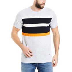 sweter BENCH - Short Sleeve Printed Stripe Light Grey Marl Winter (MA1052)