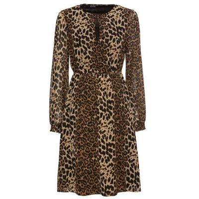 900a6bd9d1 Sukienka w cętki leoparda bonprix beżowo-czarny w cętki leoparda