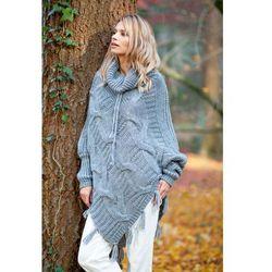 Szary ciepłe poncho-sweter z frędzlami