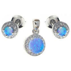 Delikatny rodowany srebrny komplet z opalem i cyrkoniami opal cyrkonie srebro 925 V013Z