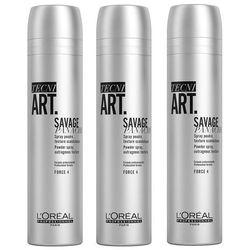 Loreal Tecni.Art Savage Panache | Zestaw: pudrowy spray dodający objętości 3x250ml