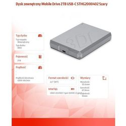 """Dysk Seagate STHG2000402 - pojemność: 2 TB, USB: 3.0, 2.5"""""""