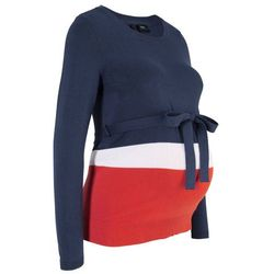 Sweter ciążowy, długi rękaw bonprix ciemnoniebiesko-biało-czerwony w paski