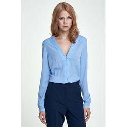 Błękitna Koszula Elegancka z Dekoltem V
