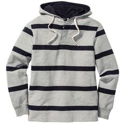 Bluza z kapturem Regular Fit bonprix jasnoszary melanż-ciemnoniebieski w paski