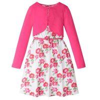 Zestawy odzieżowe dziecięce, Sukienka dziewczęca + pasek + bolerko (3 części) bonprix biało-ciemnoróżowy w kwiaty