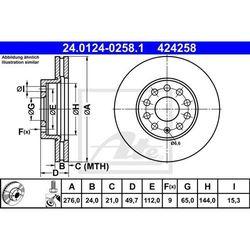 TARCZA HAM ATE 24.0124-0258.1 SEAT LEON III 12-/ VW GOLF VII 1.0, 2.0D 12- PRZÓD