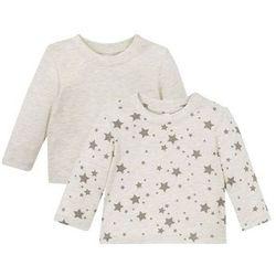 Koszulka niemowlęca z długim rękawem (2 szt.), bawełna organiczna bonprix naturalny melanż + szary
