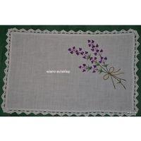 Serwety, Serweta ręcznie haftowana, motyw lawendy 33x21 cm