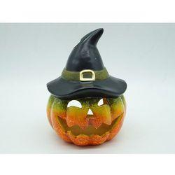 Lampion ceramiczny Dynia z kapeluszem na Halloween - cm - 1 szt.