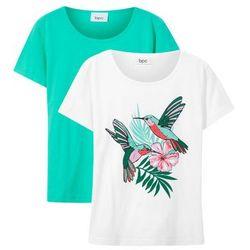 T-shirt dziewczęcy (2 szt. w opak.) bonprix biały-zielony morski + biały