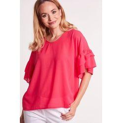 Amarantowa, szyfonowa bluzka z szerokim, motylkowym rękawkiem - Duet Woman