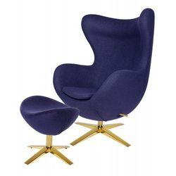 Fotel EGG SZEROKI GOLD z podnóżkiem fioletowy.25 - wełna, podstawa złota