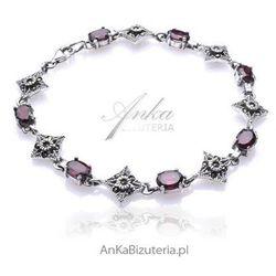 ankabizuteria.pl Biżuteria bransoletka srebrna granaty oraz markazyty sensualna