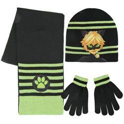 Komplet: czapka jesienna / zimowa, szalik i rękawiczki Miraculum: Biedronka i Czarny Kot