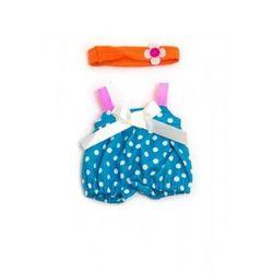 Ubranko dla lalki 21 cm niebieskie w kropeczki z opaską