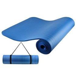 Mata fitness do ćwiczeń gruba 1 cm z paskiem niebieska