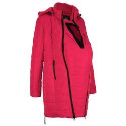 Długa kurtka pikowana ciążowa i z wstawką na nosidełko bonprix czerwony
