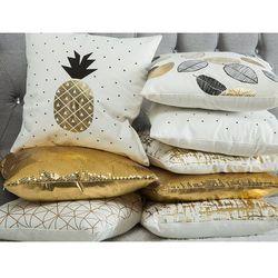 Poduszka dekoracyjna siatka bawełniana złota 45 x 45 cm