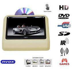 "NVOX VR9917THD BE Monitor dotykowy na zagłówek samochodowy LCD 9"" cali LED HD DVD USB SD IR FM GRY 12V"