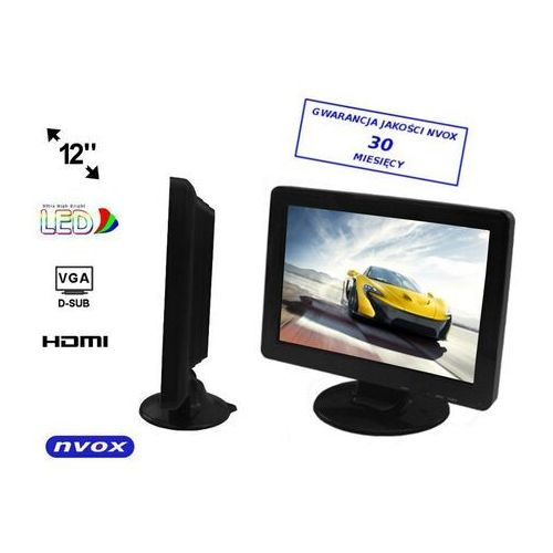 "Monitory samochodowe, NVOX PC1211 VGA Monitor samochodowy LED 12"" z wejściem VGA HDMI"