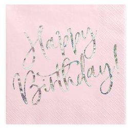 Serwetki urodzinowe jasnoróżowe Happy Birthday - 33 cm - 20 szt.
