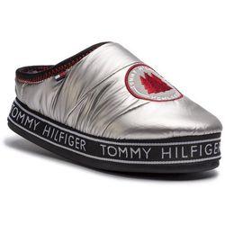 Kapcie TOMMY HILFIGER - Downslipper Patch FW0FW04182 Silver 000