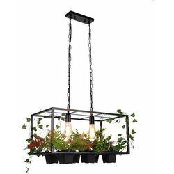 Dekoracyjna LAMPA wisząca HYGE 313843 Polux loftowa OPRAWA prostokątna ZWIS na łańcuchu kwiaty plants czarny