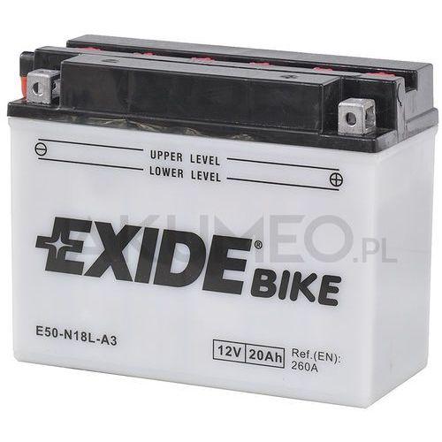 Akumulatory do motocykli, Akumulator EXIDE Conventional E50-N18L-A3 12V 20Ah 260A prawy+ oL