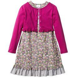 Sukienka + shirt rozpinany (2 części) bonprix matowy srebrny - jasnoróżowo-fuksja w kwiaty