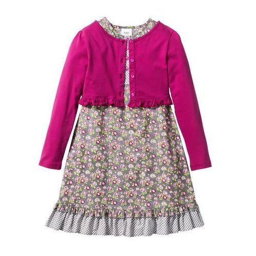 Sukienki dziecięce, Sukienka + shirt rozpinany (2 części) bonprix matowy srebrny - jasnoróżowo-fuksja w kwiaty