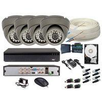 Zestawy monitoringowe, Zestaw monitoring 4 kamery HD + HDD 1TB + Zasilanie + Akcesoria + Przewód