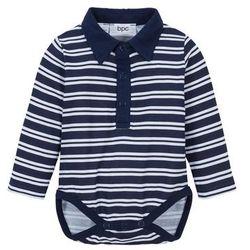 Body niemowlęce z długim rękawem, bawełna organiczna bonprix ciemnoniebiesko-biały