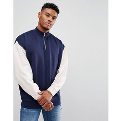 ASOS Half Zip Retro Track Sweatshirt With Contrast Sleeves - Navy
