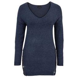 Sweter z aplikacją z cekinów bonprix ciemnoniebieski melanż