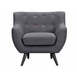 Fotel z tkaniny SERTI - Szaro-antracytowy kolor i wielokolorowe dekoracyjne guziki