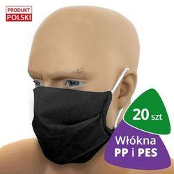 20x Profesjonalna maseczka ochronna CC150 BLACK włókna PP i PES