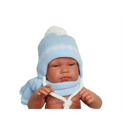 Zimowa czapka niemowlęca z szalikiem, podszyta bawełną, rozmiar: 0 – 2 miesięcy