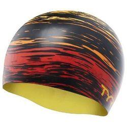 TYR CZEPEK GRAPHIC SILICONE CAP SUNSET SWIM CAP RED-YELLOW