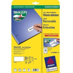 Etykiety uniwersalne AVERY ZWECKFORM usuwalne 45,7 X 21,2 mm, 48 etykiet/A4 - X06557