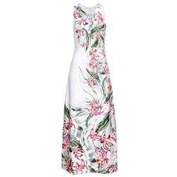 Długa sukienka w kwiaty bonprix biały w kwiaty
