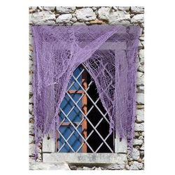 Obdarta fioletowa zasłona na okno - 1 szt.
