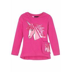 Shirt dziewczęcy z połyskiem i torebką (2 części) bonprix różowa magnolia