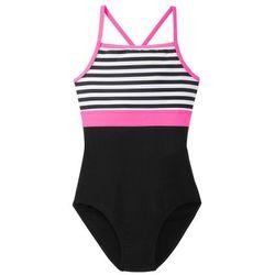 Kostium kąpielowy dziewczęcy bonprix biało-czarno-różowy neonowy