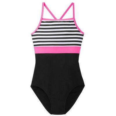 2401894b82b365 Kostium kąpielowy dziewczęcy bonprix biało-czarno-różowy neonowy