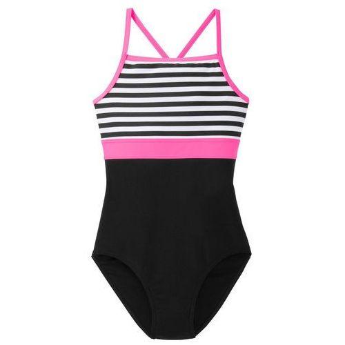 Stroje kąpielowe dziecięce, Kostium kąpielowy dziewczęcy bonprix biało-czarno-różowy neonowy